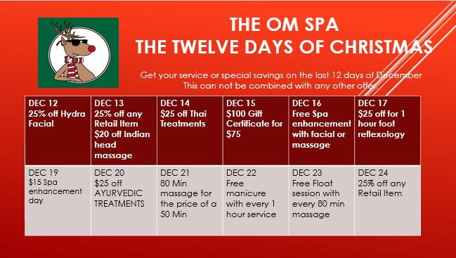 The 12 Days of savings The Om Spa Naples FL